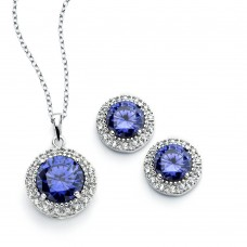 Wholesale Sterling Silver 925 Rhodium Plated Clear Cluster Blue Circle CZ Stud Earring and Necklace Set - BGS00392
