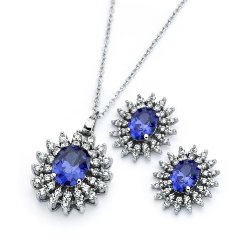 Wholesale Sterling Silver 925 Rhodium Plated Clear Cluster Blue Oval CZ Stud Earring and Necklace Set - BGS00393