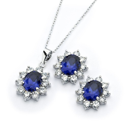 Wholesale Sterling Silver 925 Rhodium Plated Clear Cluster Blue Cluster Flower CZ Stud Earring and Necklace Set - BGS00394