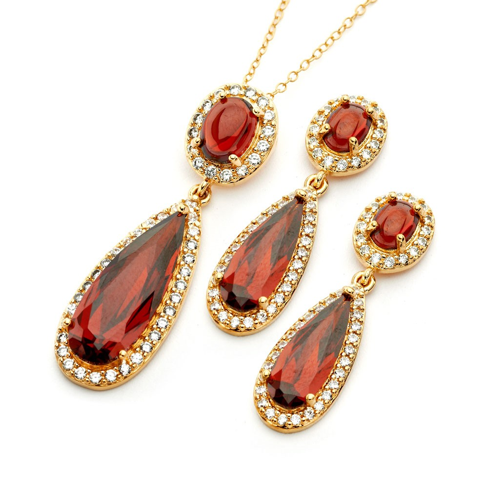 Wholesale Sterling Silver 925 Gold Plated Clear and Red Oval Slim Teardrop CZ Dangling Stud Earring and Dangling Necklace Set - BGS00395