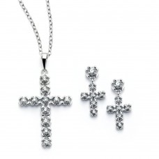 Sterling Silver Rhodium Plated Clear Cross CZ Stud Earring & Necklace Set bgs00396