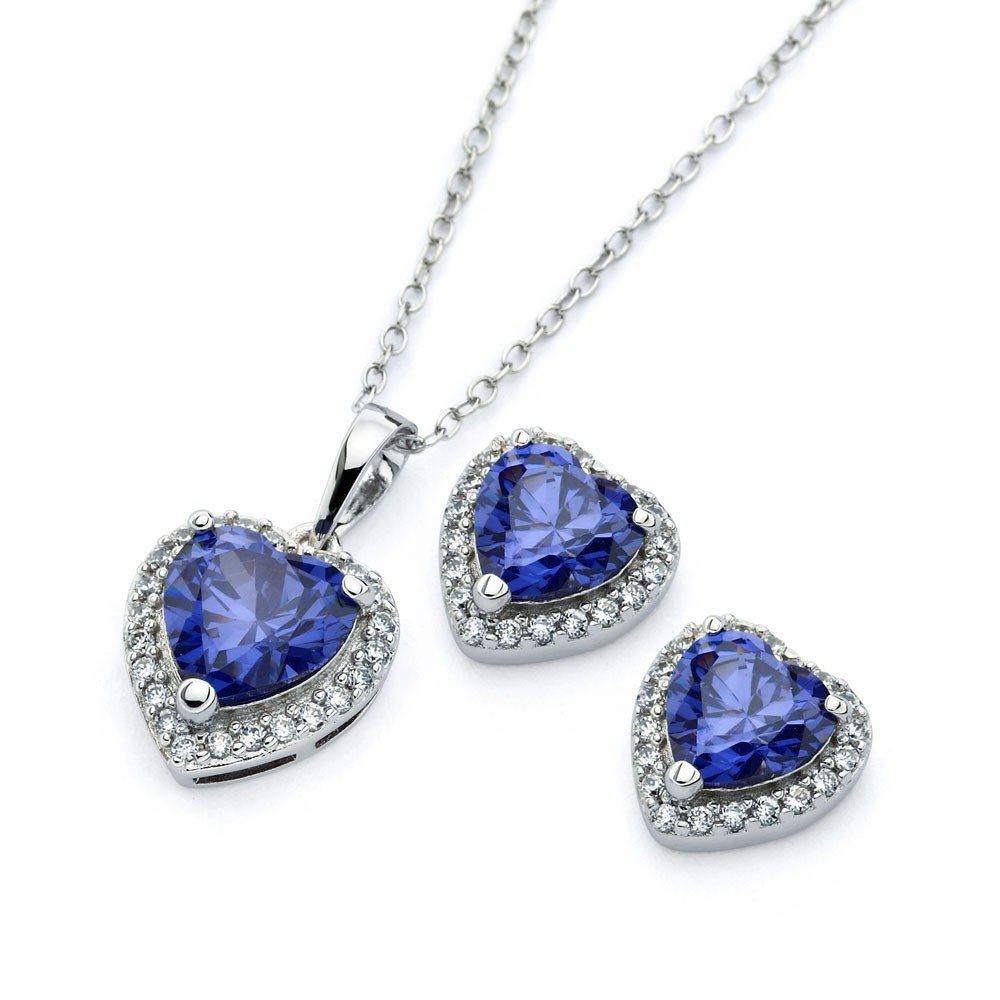Wholesale Sterling Silver 925 Rhodium Plated Clear Cluster Blue Heart CZ Stud Earring and Necklace Set - BGS00398