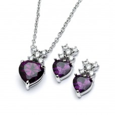 Wholesale Sterling Silver 925 Rhodium Plated Clear Round Purple Heart CZ Stud Earring and Necklace Set - BGS00399A