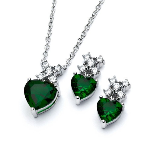 Wholesale Sterling Silver 925 Rhodium Plated Clear Round Green Heart CZ Stud Earring and Necklace Set - BGS00399G