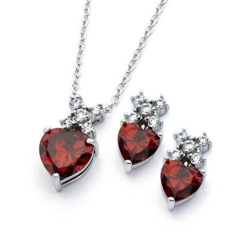 Wholesale Sterling Silver 925 Rhodium Plated Clear Round Red Heart CZ Stud Earring and Necklace Set - BGS00399R