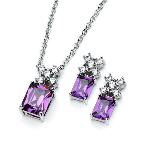 Wholesale Sterling Silver 925 Rhodium Plated Clear Round Purple Rectangle CZ Stud Earring and Necklace Set - BGS00400A