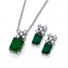 Wholesale Sterling Silver 925 Rhodium Plated Clear Round Green Rectangle CZ Stud Earring and Necklace Set - BGS00400G