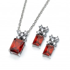 Wholesale Sterling Silver 925 Rhodium Plated Clear Round Red Rectangle CZ Stud Earring and Necklace Set - BGS00400R