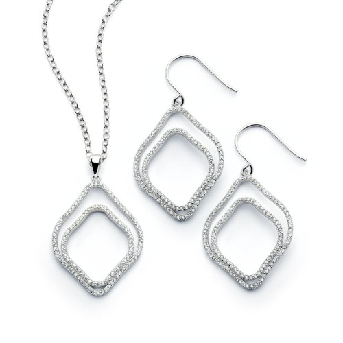 Wholesale Sterling Silver 925 Rhodium Plated Clear Double Diamond Shaped Outline CZ Hook Earring and Necklace Set - BGS00402