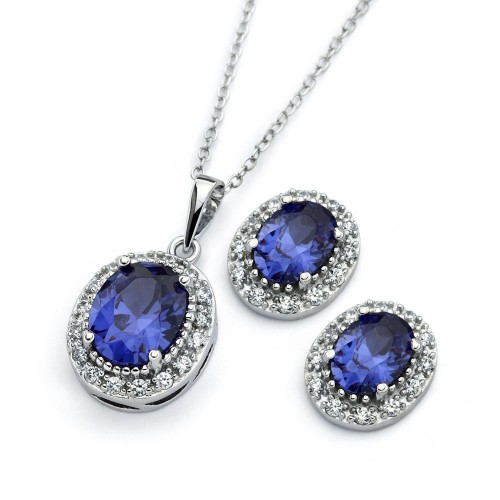 Wholesale Sterling Silver 925 Rhodium Plated Clear Cluster Blue Oval CZ Stud Earring and Necklace Set - BGS00404