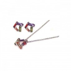 Wholesale Sterling Silver 925 Rhodium Plated Multicolor Baguette Open Square CZ Stud Earring and Necklace Set - STS00003-MULTI