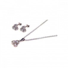 Sterling Silver Rhodium Plated Flower Round CZ Stud Earring & Dangling Necklace Set sts00013