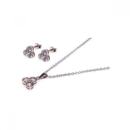 Wholesale Sterling Silver 925 Rhodium Plated Flower Round CZ Stud Earring and Dangling Necklace Set - STS00013