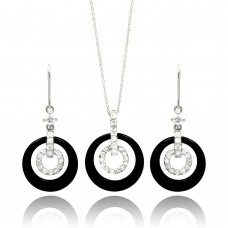 **Closeout** Wholesale Sterling Silver 925 Rhodium Plated Open Circle CZ Black Onyx Wired Dangling Earring and Necklace Set - STS00017