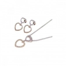 **Closeout** Wholesale Sterling Silver 925 Rhodium Plated Graduated Two Open Heart Micro Pave CZ Dangling Earring and Necklace Set - STS00019