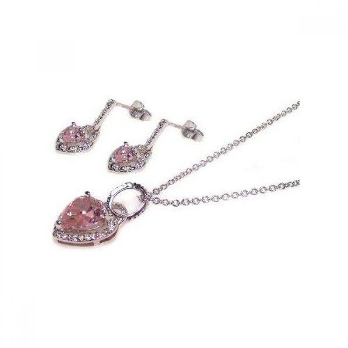 -Closeout- Wholesale Sterling Silver 925 Rhodium Plated Pink Heart CZ Dangling Earring and Necklace Set - STS00022