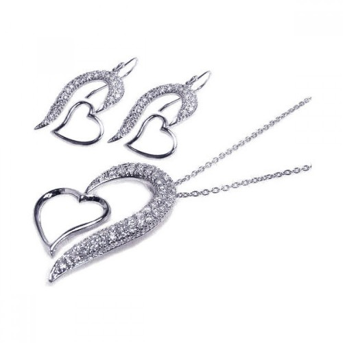 -Closeout- Wholesale Sterling Silver 925 Rhodium Plated Micro Pave Open Heart CZ Hook Earring and Necklace Set - STS00024