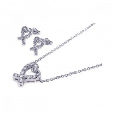 Wholesale Sterling Silver 925 Rhodium Plated Ribbon Open Heart CZ Stud Earring and Necklace Set - STS00027