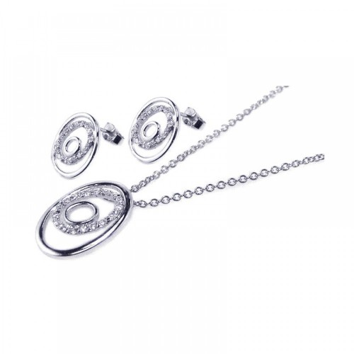 Wholesale Sterling Silver 925 Rhodium Plated Open Circle CZ Stud Earring and Necklace Set - STS00040