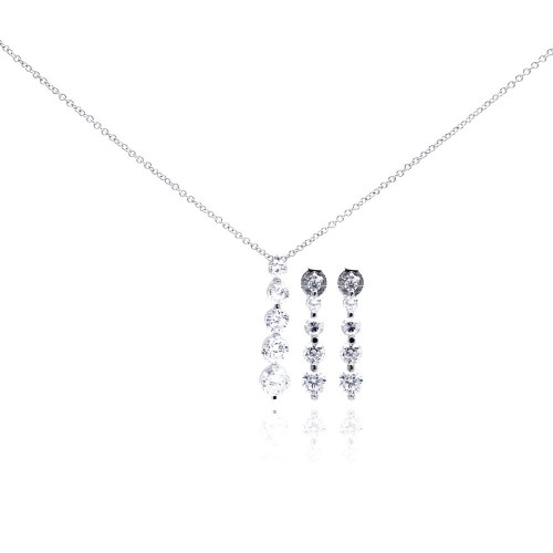 Wholesale Sterling Silver 925 Rhodium Plated Four Round CZ Dangling Earring and Necklace Set - STS00060