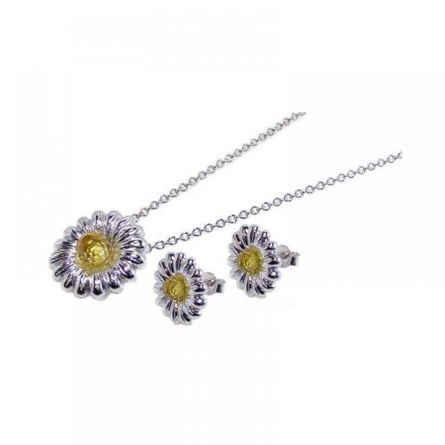 -Closeout- Wholesale Sterling Silver 925 Rhodium Plated Yellow Flower CZ Stud Earring and Necklace Set - STS00063