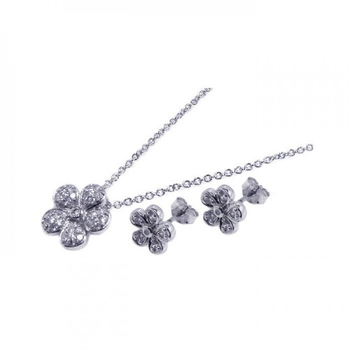 Sterling Silver Rhodium Plated Flower CZ Inlay Stud Earring & Necklace Set sts00064
