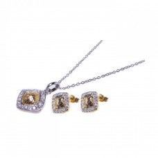Wholesale Sterling Silver 925 Gold and Rhodium Plated Square CZ Inlay Stud Earring and Necklace Set - STS00079