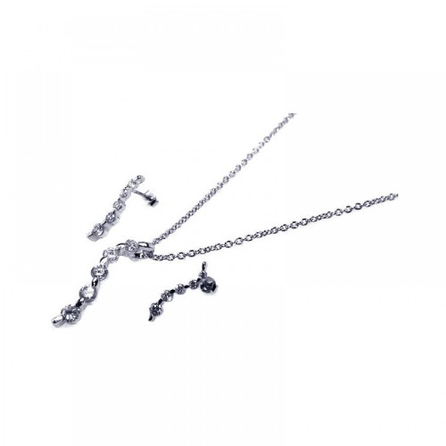 Wholesale Sterling Silver 925 Rhodium Plated Round CZ Dangling Stud Earring and Necklace Set - STS00085