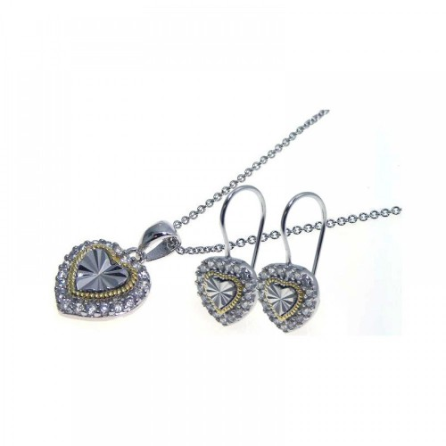 -Closeout- Wholesale Sterling Silver 925 Gold and Rhodium Plated Heart CZ Hook Earring and Necklace Set - STS00096
