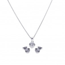Wholesale Sterling Silver 925 Rhodium Plated Heart CZ Stud Earring and Necklace Set - STS00097