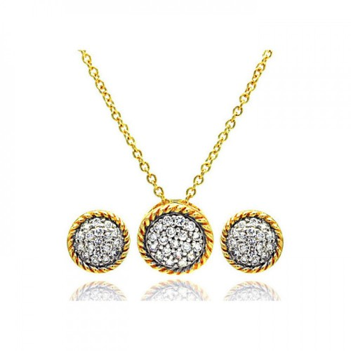 -CLOSEOUT- Wholesale Sterling Silver Gold and Rhodium Plated Round CZ Inlay Stud Earring and Necklace Set - STS00098