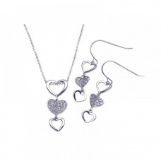 Wholesale Sterling Silver 925 Rhodium Plated Multiple Graduated Open and Closed Heart CZ Hook Earring and Necklace Set - STS00103
