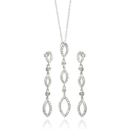 Wholesale Sterling Silver 925 Rhodium Plated Open Marquis Dangling CZ Stud Earring and Necklace Set - STS00104