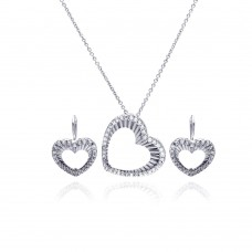 -Closeout- Wholesale Sterling Silver 925 Rhodium Plated Open Heart CZ Hoop Earring and Necklace Set - STS00106