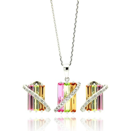 Wholesale Sterling Silver 925 Rhodium Plated Multi Colored Rectangular CZ Stud Earring and Necklace Set - BGS00202