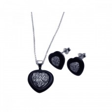 Wholesale Sterling Silver 925 Rhodium Plated Heart Clear CZ Inlay Black Onyx Stud Earring and Necklace Set - STS00108