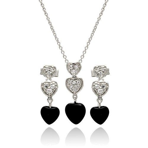 Wholesale Sterling Silver 925 Rhodium Plated Dangling Heart CZ Black Onyx Stud Earring and Necklace Set - STS00109