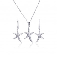 Wholesale Sterling Silver 925 Rhodium Plated Starfish CZ Dangling Hook Earring and Necklace Set - STS00116
