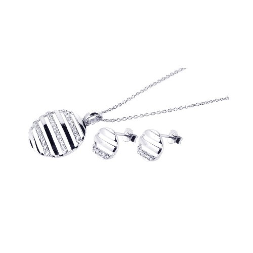 -CLOSEOUT- Wholesale Sterling Silver 925 Rhodium Plated Circle Stripped CZ Stud Earring and Necklace Set - STS00126