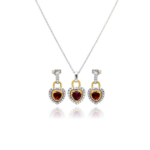 -Closeout- Wholesale Sterling Silver 925 Gold and Rhodium Plated Heart Red CZ Inlay Dangling Stud Earring and Necklace Set - STS00128
