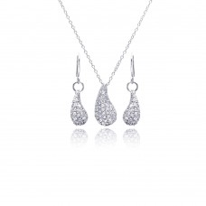Sterling Silver Rhodium Plated Eggplant Teardrop CZ Dangling Hoop Earring & Necklace Set sts00134