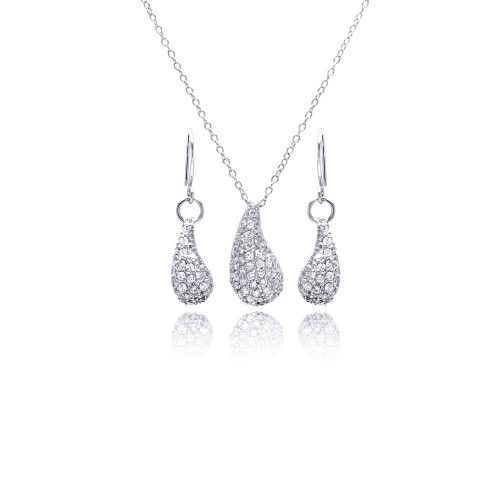 Wholesale Sterling Silver 925 Rhodium Plated Eggplant Teardrop CZ Dangling Hoop Earring and Necklace Set - STS00134