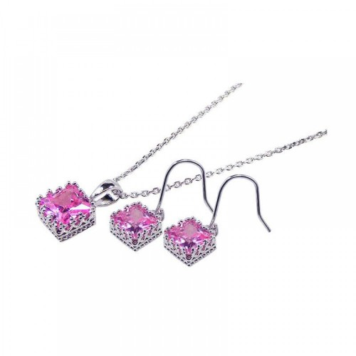 Wholesale Sterling Silver 925 Rhodium Plated Square Pink CZ Hook Dangling Set - STS00135PNK