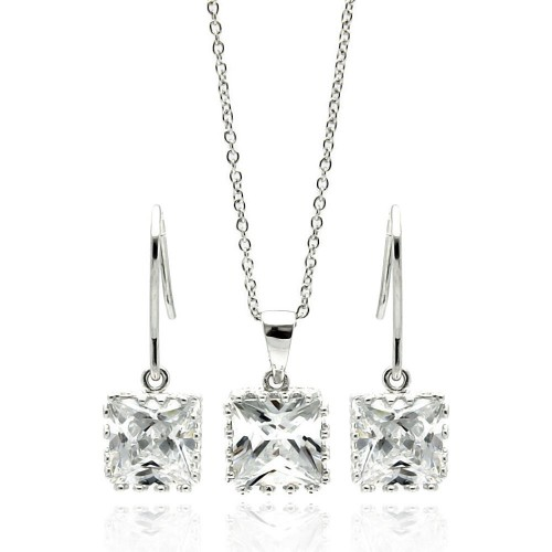 Wholesale Sterling Silver 925 Rhodium Plated Square Clear CZ Hook Dangling Set - STS00135CLR