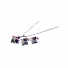 Wholesale Sterling Silver 925 Rhodium Plated Multiple Color CZ Stud Earring and Necklace Set - STS00136
