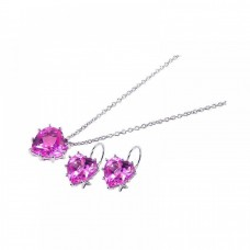 Wholesale Sterling Silver 925 Rhodium Plated Heart Pink CZ Hook Earring and Necklace Set - STS00137