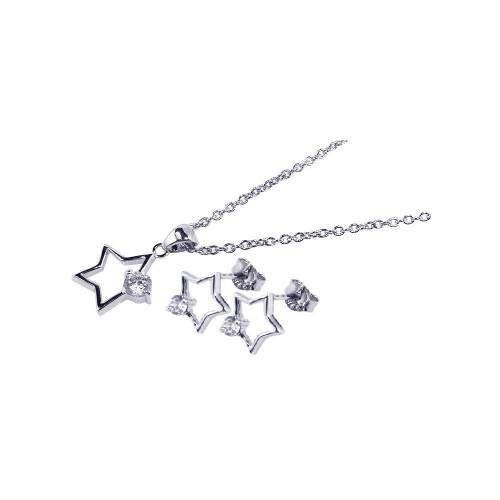 Wholesale Sterling Silver 925 Rhodium Plated Open Star CZ Stud Earring and Necklace Set - STS00140
