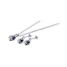 Wholesale Sterling Silver 925 Rhodium Plated Circle Heart CZ Inlay Stud Earring and Necklace Set - STS00141