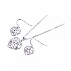 **Closeout** Wholesale Sterling Silver 925 Rhodium Plated Graduated Multiple Open Heart CZ Hook Earring and Necklace Set - STS00143