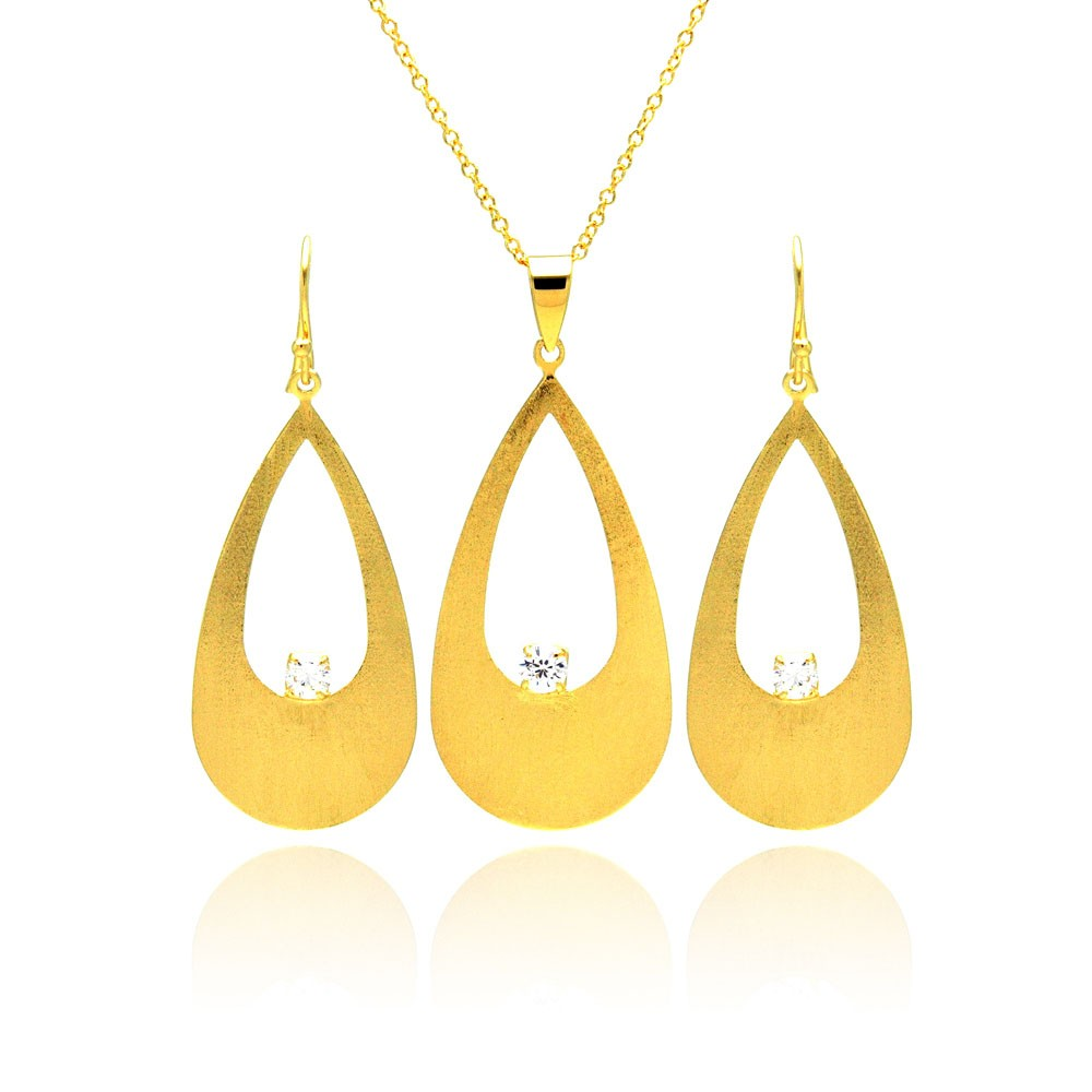 -Closeout- Wholesale Sterling Silver 925 Gold Rhodium Plated Open Teardrop CZ Earring and Necklace Set - STS00145